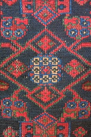 "Luri Baktiari small sumak woven kilim wilh pile spots in all inner near border. Circa 1900s - size : 39"" X 23"" - 99 cm X 59 cm"