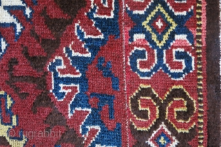 "Central Asia - Amudarya river tribal woven 4 panels joined wool rug, natural dyes and still has pile at most places, lower in center parts. small great repairs. So called "" julkhur""  ..."