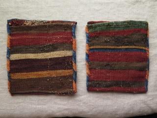 """Shahsavan spoon-bag (Ghashoghdan) side bags. Size: 6"""" x 7"""" - 16 cm x 18 cm."""