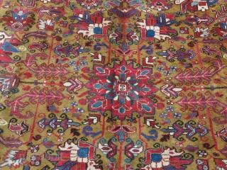 "HERIZ main rug. Overall design with mustard background. good pile. Circa 1900. size: 142"" X 100"" - 360 cm X 255 cm"