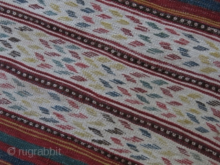 North Afghanistan Tribal Turkmen all wool kilim. Uzbeks, Tajiks and Turkmen live next to each other in this area. Woven with couple flat weave methods. The Zigzag design bands have been woven  ...