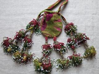 "Uzbekistan - Bokhara both side velvet pouch with silk tassels. Circa 1900. Size: 3"" X 2.5"" 4""- 5"" long tassels"