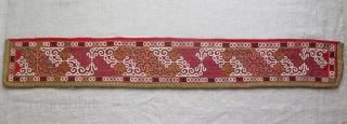 "Chodor silk embroidered chapan fragment. Size: 4.5"" x 30.5"" - 12 cm x 78 cm."