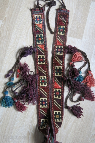 "Afghanistan Baluch tribal animal pile ceremonial trapping, all natural colors with thick wool tassels. Washed and frozen. Circa 1900 , Pile part 35"" - 90 cm long. tassel part is 25"" 65  ..."