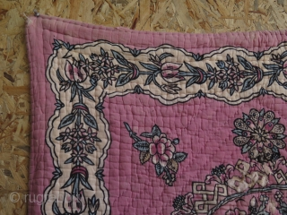 "Anatolian - Tokat block print quilted praying mat. It has some damages as can be seen on close up images. Size: 33"" x 53"" - 85 cm x 135 cm."
