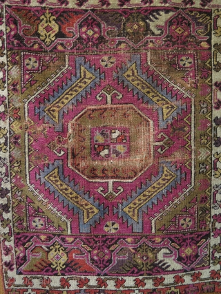 Anatolian Mudjur yastik. Circa late 19th c. Condition as it is found. Size: 23.5″ x 32″ – 60 cm x 81 cm.