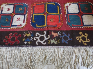 "Uzbekistan Lakai - lakay embroidered kilim. Good condition with saturated natural dyes. 4' 4"" x 12' 10"" - 134 cm x 395 cm."