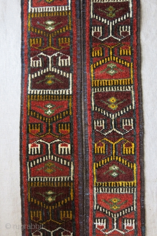 Afghanistan Ersary - pile ceremonial band. Tightly woven with open to right asymmetrical knots. A sub-tribe of Ersary Turkmen. Saturated natural colors. Traditional Ikat design motifs and indigo wefts.  Great condition.  ...
