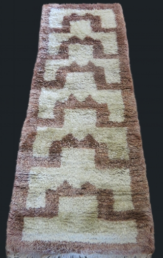 "Anatolia Karapinar Turkmen thick pile rug. Angora and fine wool mixed. circa 1920s or earlier. Size : 74"" X 28"" - 188 cm X 71 cm"