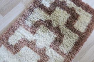 "Anatolia Karapinar Turkmen thick pile rug. Angora and fine wool mixed. circa 1920s or earlier. Size : 74"" X 28"" - 188 cm X 71 cm"