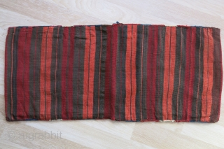 "Eastern Anatolia Kurdish sumak woven all wool double bag. Saturated natural colors. Circa 1900 or earlier, size : 40"" X 17"" - 102 cm X 43 cm"