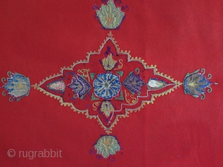 "Persian Rashti duzi textile. Silk embroidery on banat. Size: 20"" x 28"" - 52 cm X 72 cm."