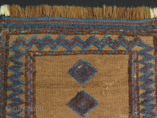 "Mini Persian kilim with camel hair ground. Size: 12"" x 15"" - 31 cm x 39 cm."