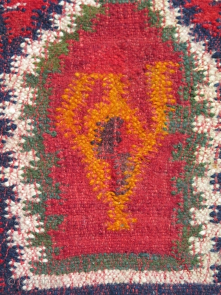 "Antique Balkan Sarkoy kilim, woven in three panels in design of 2-1-2. Strong saturated colors. One little stain about 2"" x 2"". Circa 1900 - 1920. Size: 66"" x 98"" - 167  ..."