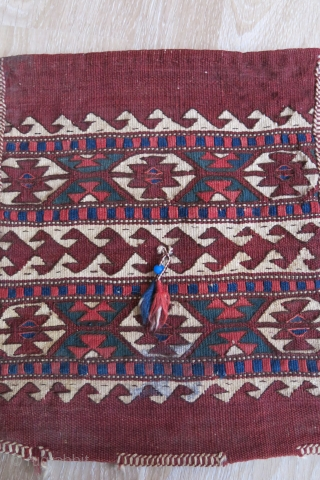 """Anatolian Yuncu kilim travel bag. Has a little stain on lower part. natural dyes and good condition. Circa 1900- 1920s. Size : 16"""" X 13.5"""""""