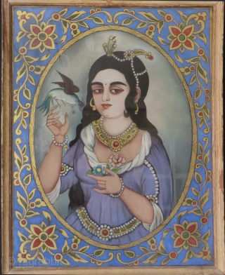 "Persia - Kajar under glass painting mix with gold - Kajar Princess. Circa 1880-1900 or earlier. In great condition, Size 17"" x 13""  (43cm x 33cm)"