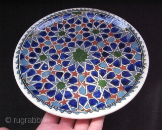 "Kutahya ceramic plate with Seljuk design. In good shape. Early 20th. century. Size in diameter: 9"" - 23cm"