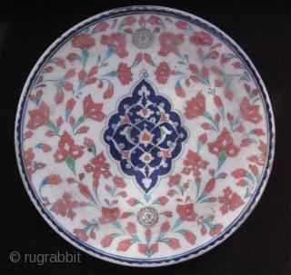 "Kutahya ceramic plate. Late 19th. century. Size in diameter: 12"" - 31cm."