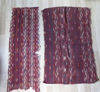 """Turkmen Kilim fragments. Sizes: 20"""" x 52"""" - 52 cm x 137 cm and 30"""" x 50"""" - 77 cm x 129 cm."""
