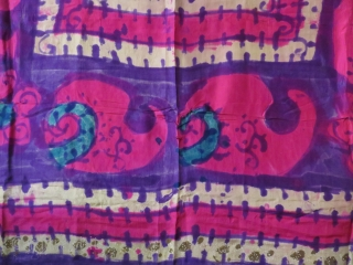 """Uzbekistan all silk textile, hand painted and tie-dyed. Great condition. Size : 61"""" X 62 """" Circa 1900-1920"""