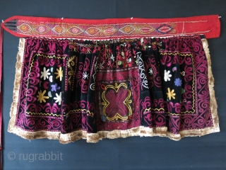 "Central Asia- Kirgizstan, Ceremonial Skirt. Traditional fine Silk chain stitch embroidery on Velvet. Great saturated natural dyes. a rare ethnographic item. Circa 1900 -1920. Size : 53""-55"" by 28"""