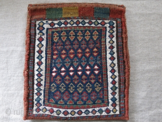 "Shahsavan tribal bag- wool and cotton. Small old repairs on top slit part and back side. size: 10.5"" X 9.5"" - 27 cm X 24 cm"