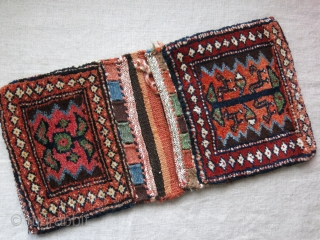 """Shahsavan Save, Mini double bag- full thick pile with great condition and natural dyes. Circa 1900 or earlier. Size: 21"""" by 10"""" - 53 cm X 25 cm"""