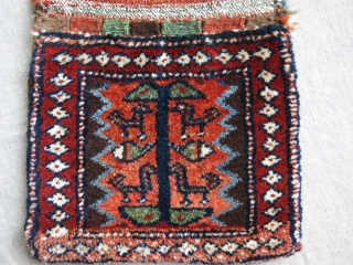 "Shahsavan Save, Mini double bag- full thick pile with great condition and natural dyes. Circa 1900 or earlier. Size: 21"" by 10"" - 53 cm X 25 cm"