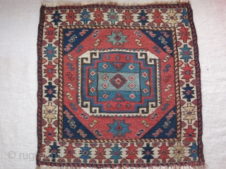 """Shahsavan sumak bag face. small repairs on brown and couple areas. Natrual dyes and fine weave. Size : 18.5"""" X 18.5"""" - 47 cm by 48 cm."""