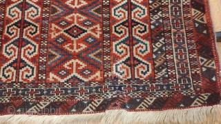 "Turkmen Yomud Salacakh Prayer rug. Circa 1900. Some small old repairs. Size; 41"" x 45"" - 104 cm x 114 cm."
