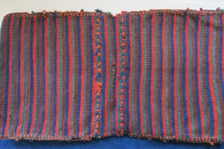 "Afshar small double bag. All wool with original side wrappings. Saturated colors. Circa 1900 - size: 25"" X 14"" - 63 cm X 36 cm"