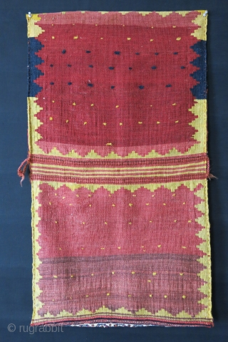 "Qashkai double bag. All wool with saturted natural colors. Minor corner back kilim side repair Circa 1900 or earlier size : 35"" X 21"" - 89 cm  54 cm"
