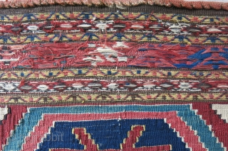 "Shahsavan bedding bag end panel, very fine sumak and kilim weave with good colors and turn over century age. Size: 19"" X 20"" - 48 cm X 51 cm"