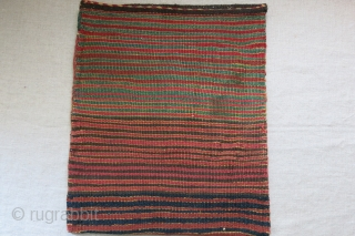 "Southwest of Iran - tribal baktiari bag with original backing. small repairs in yellow at bottom. Overall in good condition. Circa 1900 or earlier - size : 16.5"" X 14"" - 42  ..."