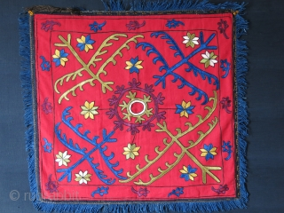 "Kirhiz tribal yurt hanging. Silk eambroidery with tarditional designs. Fine saturated natural colors with a Russian printed cotton backing with one side opening. Probably used as mirror cover. Size: 25"" X 24""  ..."