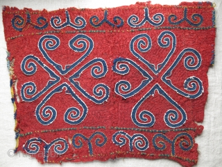 "Central Asia - antique Kirgiz ok bash, wool and cotton emboidery on felt. Saturated natural colors, first half of 19th century. 24"" by 18"" -  61cm X 46 cm"