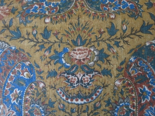 """Persia Isfahan very finely printed cotton fragment. A unique classical overall Persian floral design. less than a inch tear at very bottom part. Early 19th cent. or earlier. size: 50"""" by 24""""  ..."""
