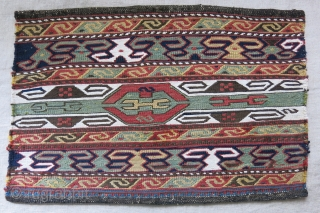 "Caucasian beding bag end panel.Wool and cotton with natural colors. Circa 1900 or earlier size: 20"" X 13.5"" - 51 cm X 35 cm"