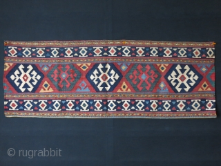 "Shahsavan kilim bedding beg side panel, nice colors and condition, two minor repair touches. Circa 1900  size : 43"" x 16""  - 109 cm X 41 cm"