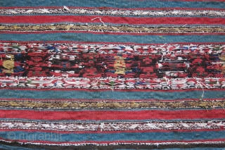 """Shasavan Karadag bedding bag side panel. very fine sumak weave with saturated natural colors. Circa, second part of 19th cent. Size: 38"""" X 18.5"""" - 96 cm X 47 cm"""