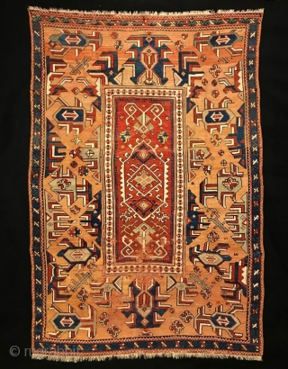 "Rare type West Anatolian village rug. Circa 18th Century. Size: 58"" x 87"" - 147 cm x 220 cm."