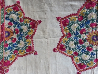 "India / Pakistan Antique Abochhini Sindhi embroidery fragment. Silk embroidery on fine cotton with natural dyes. Circa - 1900 size : 32"" X 21"" - 82 cm X 53 cm"