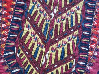 "Turkmen Tekke camle trapping fragment- fine silk emrboidery with Tekke designs. Turkmen printed cotton backing. Circa 1900 or ealier. Size : 11.1/2"" long - 9"" wide on top - 29 cm X  ..."