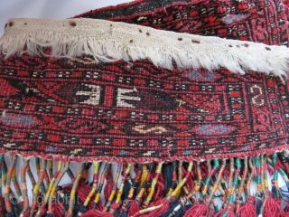 "Turkmen Saryk trapping - hanging - whites are cotton and light yellow is silk. Circa 1920s. Size: 23"" long 4"" wide- 12"" long tassels"
