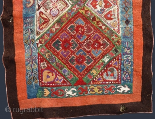 "Uzbekistan Lakai silk embroidered felt. Circa late 19th C. Size: 58"" x 147"" - 147 cm x 373 cm."