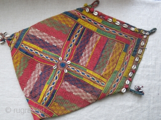 "India Banjara tribal dowry bag, cotton embroidery on cotton on quilted field. Decorated with cowry shels all around. Saturated natural dyes. Circa 1920-30 - size : Open 24"" X 16.5"" - 61  ..."