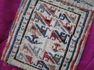 "Shahsavan mini double bag- Sumak weave on cotton, natural colors good condition Circa 1900 or earlier. Size: 6"" x 16.5""- 15 cm x 42 cm."