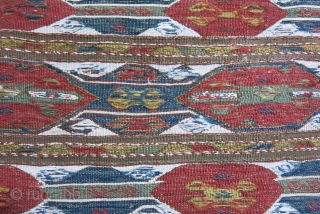 """caucasus - bedding bag end panel - wool and cotton, fine plane sumak weave with natural colors. Circa 1900 or earlier - Size : 23"""" X 14"""" - 58 cm X 36  ..."""