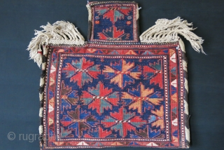 """Baktiari tribal Saltbag, wool sumak weave on cotton with saturated natural dyes. Original Goat hair side wrappings. Circa 1900 or earlier size : 23"""" X 23"""" - 58 cm X 58 cm"""