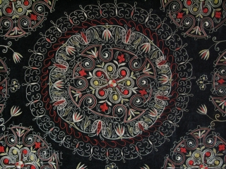 "Central Asia, Kirghiz wall or bedding pile hanging. Silk very fine chain stitch embroidery on velvet with traditional wild crocus floral designs.. Circa 1920-30s. Size: 50"" x 53"" - 127cm x 136cm."